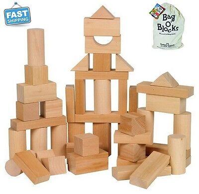 Blocks Wooden Toys Natural Wood Building Sets Block Activity Preschool Kids New
