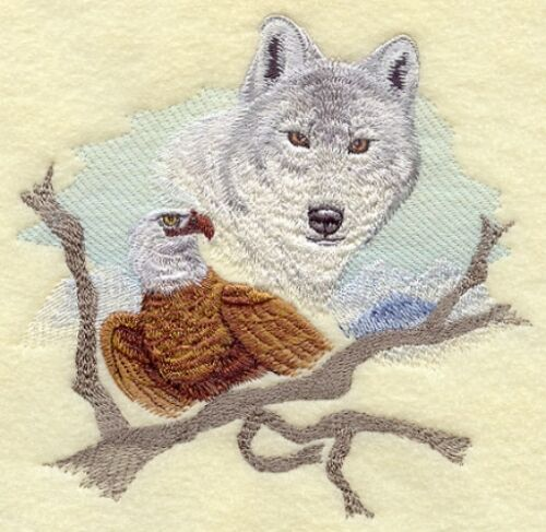 Embroidered Sweatshirt - Wolf and Eagle E5024