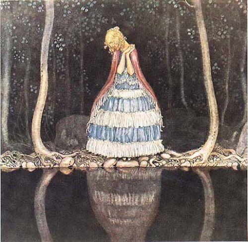 John Bauer Postcard Princess Tuvstarr Water Reflection Sweden