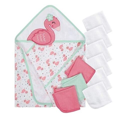 Gerber Baby Girl 4-Piece Pink Flamingo Hooded & Washcloths Terry Bath Set