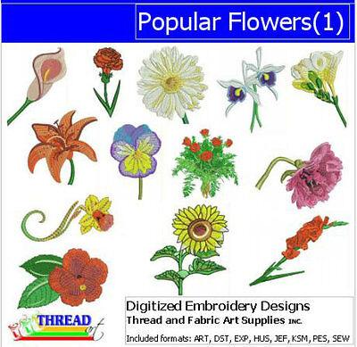 Embroidery Design Set - Popular Flowers(1) - 13 Designs - 9 Formats - USB Stick