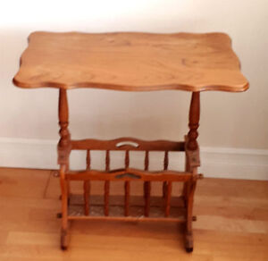 Vintage 1940's Solid Oak Side Table With Magazine Rack