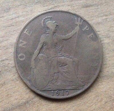 ONE PENNY COIN 1917 GEORGE V (PRE-DECIMAL) DEI GRA:BRITT:OMN:REX FID:DEF:IND:IMP
