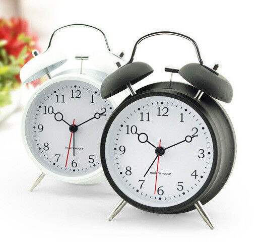 "Simple Europe Novelty 4"" Silent Sweep Twin Bell Night Light Analog Alarm Clock"