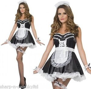 Ladies-Sexy-French-Maid-Rocky-Horror-Valentines-Fancy-Dress-Costume-Kit-Outfit