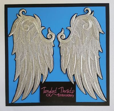 Wings, Angel Wings, Bird Wings, Embroidered Patches Right and Left, Silver