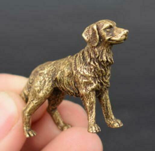 Collection archaize brass Prosperous wealth dog small statue