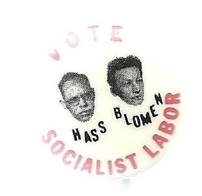 HASS, BLOMEN SOCIALIST LABOR PARTY 1964 POLITICAL CAMPAIGN PIN