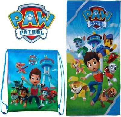 Official PAW Patrol Cotton Beach Towel & Gym Bag Set Gift Kids - Childrens Swimming Towels
