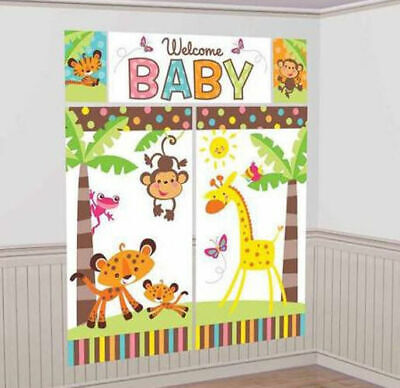 Fisher Price ANIMALS OF RAINFOREST Scene Setter WELCOME BABY party wall decor](Fisher Price Jungle Baby Shower)