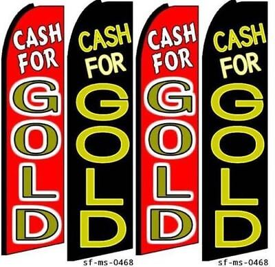 Cash For Gold Swooper Feather Flag Banner Sign Kits. 4 Flags 2 Hardware Kits