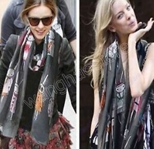 Black-Long-Scarf-Rabbit-Print-SHAWL-Wrap-summer-beach