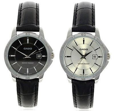 Casio Women's Analog Quartz Stainless Steel Black Leather Watch