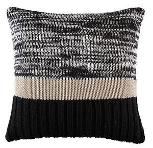 Kas Flec black cushion cover size 50cm x 50cm natural/black acrylic knit-1