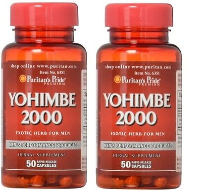 2X Puritans Pride Yohimbe Bark 2000 Mg Male Sexual Health Total 100 Capsules
