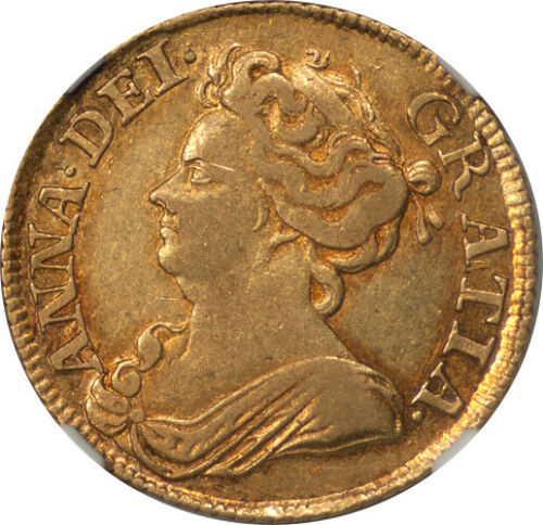 Great Britain 1713 Anne Gold Guinea NGC XF-40