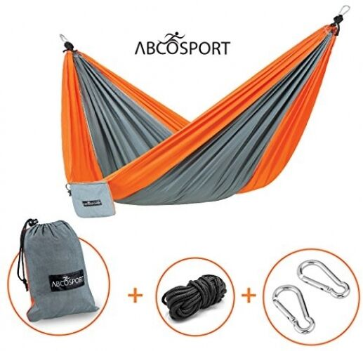 Camping Hammock - Portable Double Strong Nylon Parachute For Traveling, Hiking,