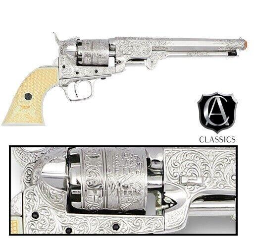 Denix Classics M1851 Navy Replica  Revolver Polished Finish - Nickel