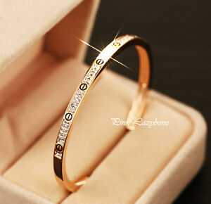 18K Rose Gold Plated Stunning Bangle Bracelet W/ SWAROVSKI CRYSTALS