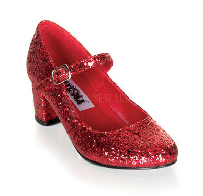 Womens Halloween Mary Jane Red Sequin Shoes