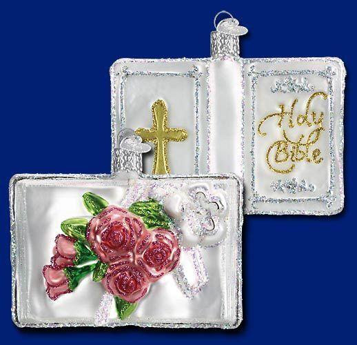 White Bible Ornament Old World Christmas 32095 Wedding  NEW