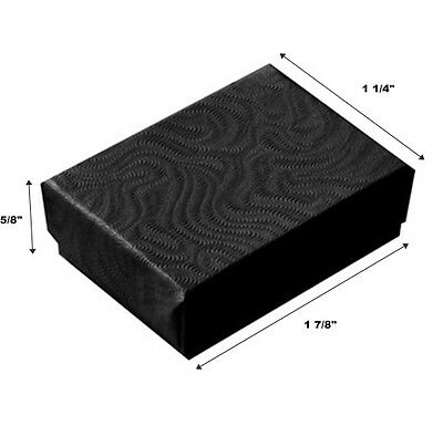 200 Small Swirl Black Cotton Fill Jewelry Display Gift Boxes 1 78 X 1 14 X 58