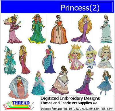 Embroidery Design Set - Princess(2) - 16 Designs - 9 Formats - USB Stick ()