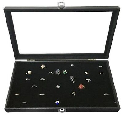 Jewelry Display Cases Portable Showcase Ring Velvet Insert Box Glass Top 72 Slot