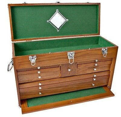 10 Drawer Oak Machinist Wooden Wood Tool Chest Box ()