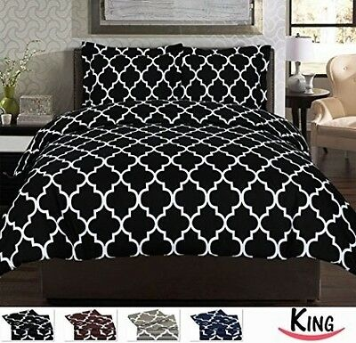 Black King Size 3 Piece Duvet Cover Set Bedding Shams New