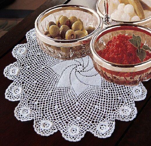 "9.5"" - 10"" Inch Round Cotton Crochet Lace Doily White 12 PCS Doilies Weddiing"
