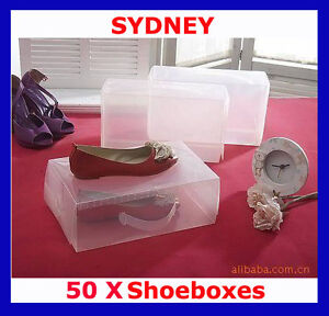 50 x Clear Plastic Shoe Storage Organiser Boxes NEW