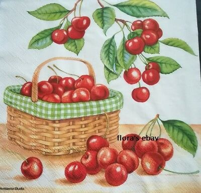 4 Napkins Cherries Basket Summer 33x33cm Tissues Decoupage Paper Party Craft