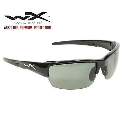 Wiley X Saint Gloss Black Frame Polarized Smoke Green Lens CHSAI04