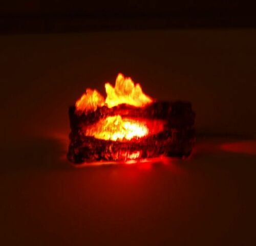 Dollhouse Flashing Fireplace or Camping Fire Logs Battery Operated Miniatures