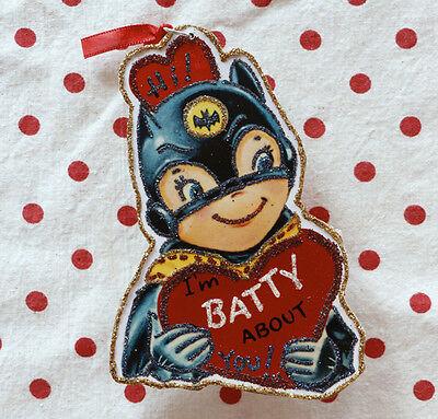 Glittered Wooden Valentine Ornament~Bat Girl~Vintage Card Image~ ~Free Shipping