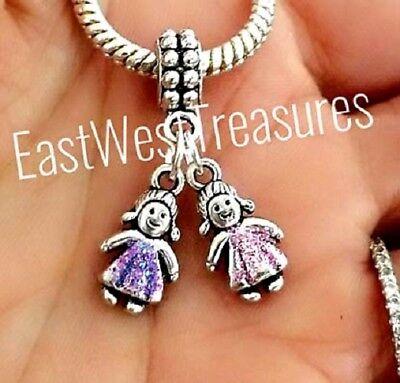 Custom Birthstone Two Twins Girls daughters Granddaughters sister charm pendant