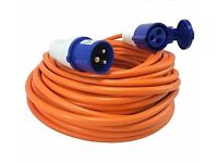 Heavy Duty Electric Hook Up Cable Lead 25metre with 3 pin UK Adaptor caravan camper motor home