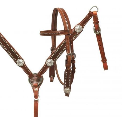 NEW! Showman PONY Headstall & Breast Collar Set with Silver Conchos. FREE SHIP!