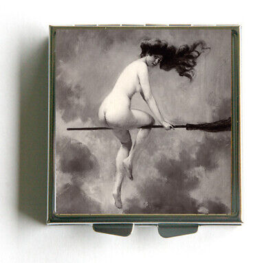 Halloween Naked (Nude Witch Square Pill case pillbox pill box holder)