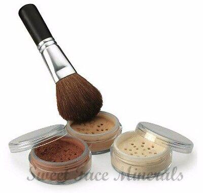 4 pc FAIR 1 Kit w/ Brush Mineral Makeup Set Bare Skin Powder Full Sz Foundation
