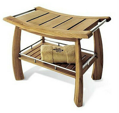 A GRADE TEAK BATHROOM SHOWER SPA STOOL ...