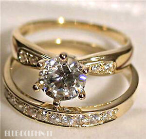 Real 9CT Solid Yellow Gold Engagement Wedding Set Rings