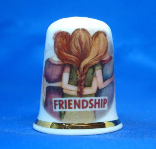 Birchcroft China Thimble -- Friendship  -- Free Dome Gift Box