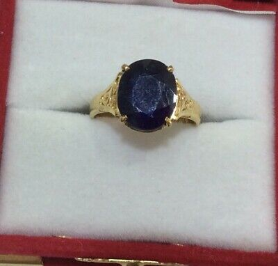14k Solid Yellow Gold 3.75CT Oval Sapphire Solitaire Ring 3.95GM Size 6(298$)