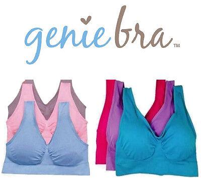 NEW! 3pc GENIE BRA!  - Pastel & Bright Colors - Pink Purple Blue - S M L XL 2XL (Blue Pastel)