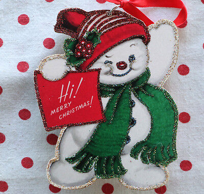 """Glittered Wooden Christmas Ornament~Snowman Says """"Hi"""" ~Vintage Card Image"""