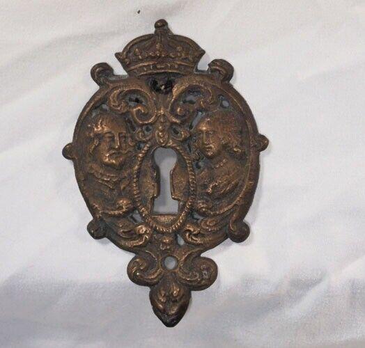 Brass victorian / Ornate  keyhole cover    Spain France escutcheons