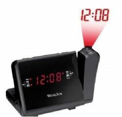 Westclox Electric Digital Projection AM FM Clock Radio Black with Dual Alarm