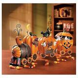 """NEW Set of Five 6""""H x 14""""L Pumpkin Express Train Thanksgiving Halloween Decor"""